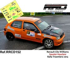 DECAL/CALCA 1/43; Renault Clio Williams; Saunier-Vauclare; Rally Trasmiera 2013