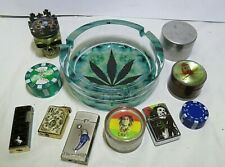 Lot Tobacco Herb Grinder Layer Herbal Alloy Lighters Ash tray Novelty