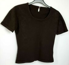 BRORA 100% PURE CASHMERE WOMENS JUMPER TOP S BROWN SHORT SLEEVE 561
