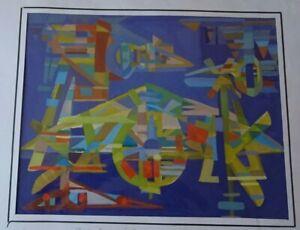 CROCOMBETTE -MACHINERIE  ABSTRACTION GRANDE GOUACHE ORIGINALE VINTAGE ANNEES 70