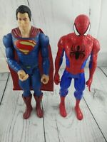 Marvel Superheroes Action Figure Hasbro Spider-Man & superman by mattel 11.5""