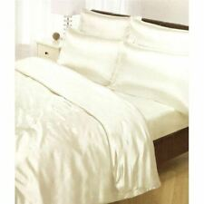 CREAM SATIN DOUBLE DUVET COVER, FITTED SHEET & 4 PILLOWCASES NEW