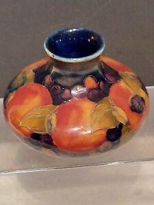 """William Moorcroft Signed 4"""" Pomegranate Vase. Blue Marked Signature. NR"""