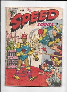 SPEED COMICS #43 ==> GD+ INSANE BONDAGE/ROBOT COVER HARVEY 1946