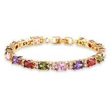 "18K Gold Filled Oval Cut Colorful Sapphire Wedding Bracelet For Women 6.7""12.3g"