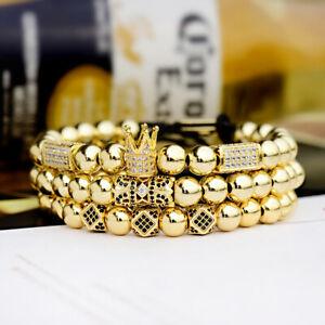 Men Luxury Zircon Crown Balls Beads Braiding Adjustable Men Women Bracelet Gift