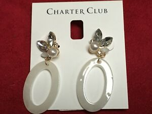 """Charter Club Gold Plated Earrings Faux Pearl Oval Dangling 1""""1/4 Macy's New N310"""