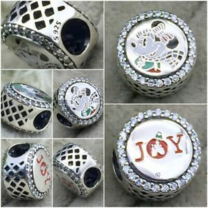 S925 Sterling Silver Parks Exclusive Mouse Noel Holiday & joy christmas Charm 🕊