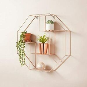Rose Gold Hexagon Shelf Metal Wire Storage Shelves Decorative Floating Shelf