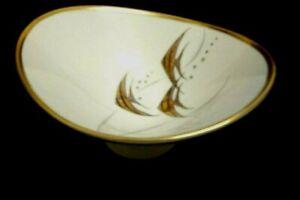 Vintage 1960s Alka Bavaria Bravant German Gold Gilt Fish  Pattern Footed Bowl
