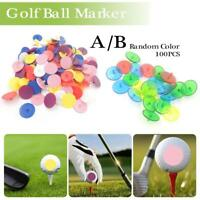 100pcs Flat Round Plastic Golf Ball Position Marker Multicolor Markers Mark 24mm