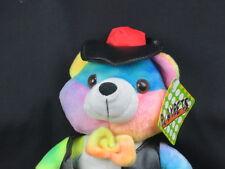 NEW KUDDLE ME TOYS PLAY PET MULTI COLOR TEDDY BEAR VINYL LEATHER JACKET PLUSH
