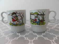 Vintage Made in Japan Stackable Coffee Cups Mugs Set of 2 with Girls