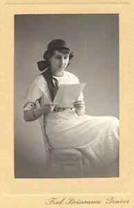 Superb Gelatin silver print Girl Reading a Letter 1900c Boissonnas Genève Swiss