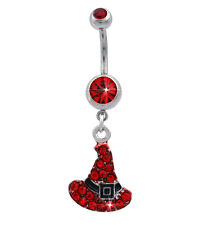 Witch Hat Charm Red Barbell Navel Belly Ring Body Piercing Halloween Jewelry