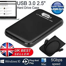 Black Hard Disk Drive Enclosure USB 3.0 2.5 External SATA HDD SSD Case Caddy UK