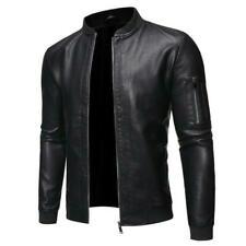 Men Leather Motorcycle Biker Bomber Jacket Baseball Stand collar Zipper US 3XL