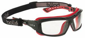 Bolle ULTIM8 Safety Glasses, Black/Red Frame, Foam Gasket, Clear Anti-Fog Lens