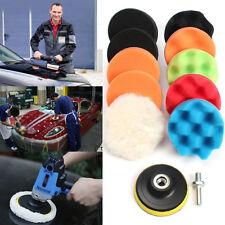 "11x 7"" Buffing Polishing Sponge Pads Kit Set Car Clean Polisher Buffer + Adapter"