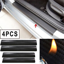 4x 3D Carbon Fiber Car Door Sill Scuff Plate Cover Anti Scratch Sticker Black