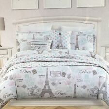 8pc Nicole Miller Paris Set Eiffel Tower Twin Comforter Sham Pillow Sheets Heart