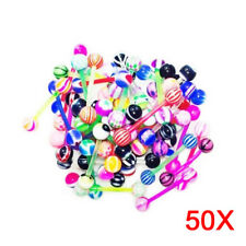 50Pcs Mixed Ball Tongue Navel Nipple Barbell Rings Bars Body Jewelry Piercing AU
