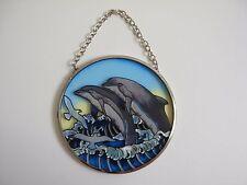 "Dolphin Ocean Sun Catcher Amia Studios Waves & Birds Hand Painted Glass 3 1/2 """