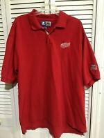 VTG 90's STARTER Detroit Red Wings NHL Hockey Embroidered Polo Shirt Mens Sz XXL