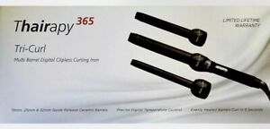 Thairapy 365 Tri-Curl Multi Barrel Digital Clipless Curling Iron - BLACK- NEW