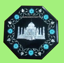 "18"" Marble Coffee Corner Center Side Taj Mahal Table Top Inlay Restaurant Home"