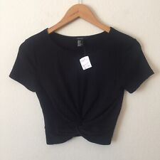 NWT FOREVER 21 Black Short Sleeve Twist Front Crop Size Medium