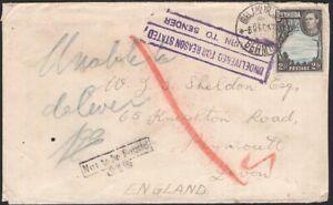 BERMUDA, 1942.  Cover 120A, Ireland Island - Plymouth, England