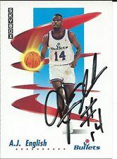 Signed 1991-92 Sky Box A. J. English  Washington Bullets  Basketball card #290