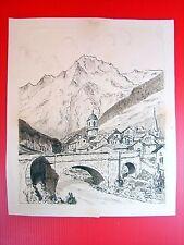 Dessin Paysage Art Nouveau 2 CHATEAU DE CHILLON Signé Eugène Verel