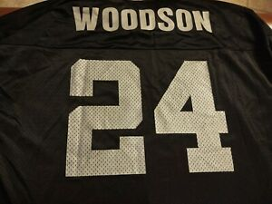 Vtg Oakland Raiders Charles Woodson #24 Black Jersey Champion Mens Size 48 XL