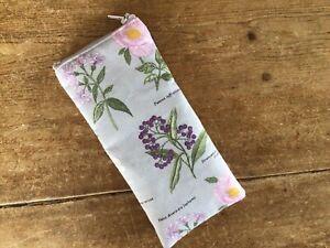 Handmade Grey Floral Botanical Glasses Case Padded Zip Closure