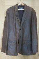 M&S Sp size XL tan brown nubuck leather fleece lined button front jacket coat