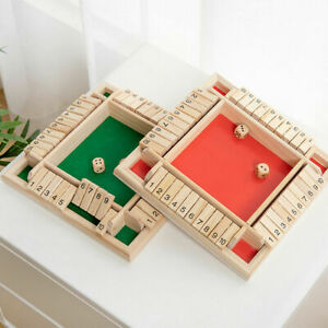 4 Players Shut The Box Dice Game Wooden Board Game for Kids Adults Tabletop Fun