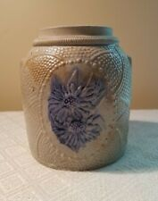 Antique Whites Utica NY Stoneware EMBOSSED #1 Crock Cobalt Raised FLOWERS