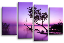 Floral Wall Art Picture Purple Grey Landscape Lake Trees Canvas Split Panel