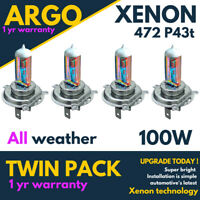 472 Xenon White Headlight 100w H4 Light Bulbs All Weather Rainbow Dipped Beam 4x