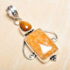"Handmade Calcite Jasper Gemstone 925 Sterling Silver Pendant 2.25"" #P15838"