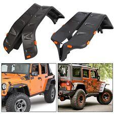 Front &Rear Fender Flares+LED Side Pocket Rivet Style For 07-18 Jeep JK Wrangler