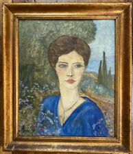 Tableau Ecole Provençale Portrait de Femme Peinture signée FM Berthet 1885-1941