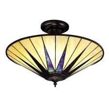 INTERIORS 1900 DARK STAR TIFFANY PEARLY CREAM SEMI FLUSH CEILING LIGHT 64043