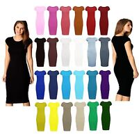 New Womens Ladies Bodycan Cap Sleeve Midi Dress Stretch Plain Jersey Plus Size
