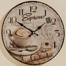 Wanduhr Uhr aus MDF Espresso Vintage Retro Landhausstil Kaffeehaus 34 cm Kaffee