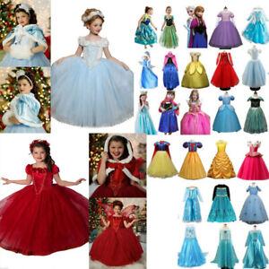Kids Girls Cartoon Princess Belle Cinderella Cosplay Party Fancy Dress Costume