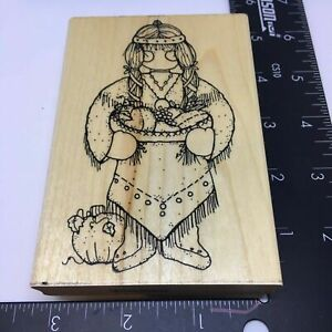 DOTS Rubber Stamp Miss November Hope Early American Harvest Thanksgiving