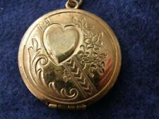 Vintage Goldfilled Round Locket Pendant Necklace Embossed Heart & Flowers